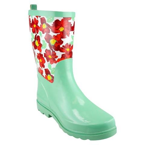 Green Floral Rain Boots