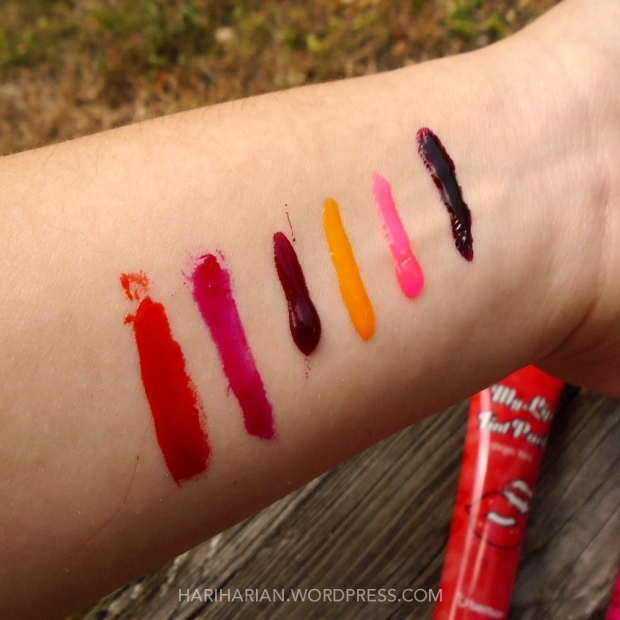 Lip tint swatches