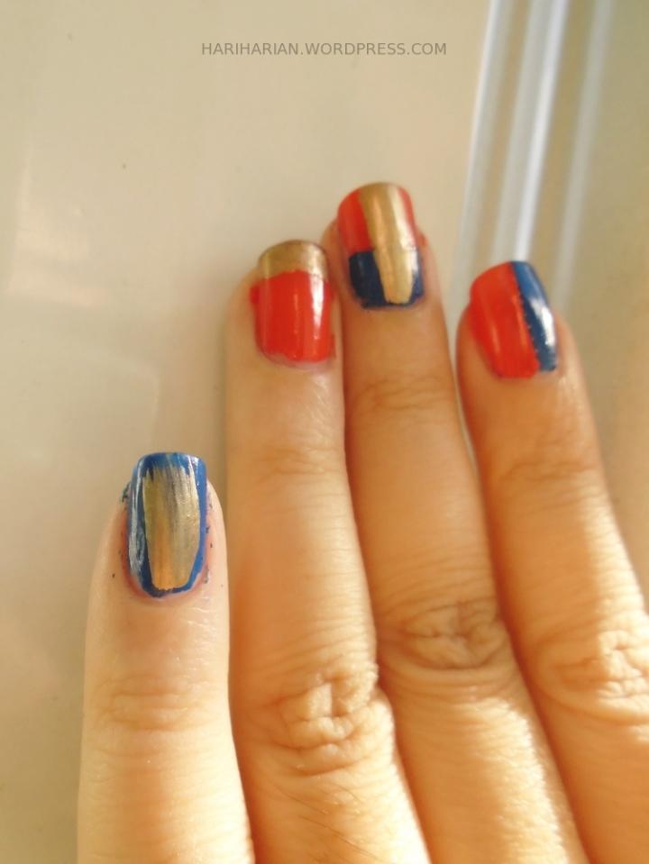 blue orange gold nail polish