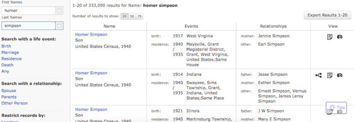 FamilySearch Results