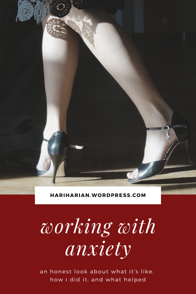Pinterest pin: woman in pumps. Title: working with anxiety.